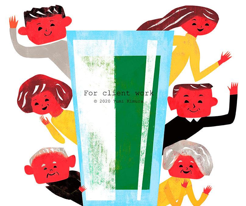 青汁商品広告用イラスト制作
